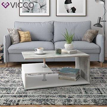 Vicco Couchtisch Guillermo 90 x 50 cm - Wohnzimmertisch Beistelltisch Holztisch Kaffeetisch - 4 Farben zur Auswahl (weiß Beton) - 4