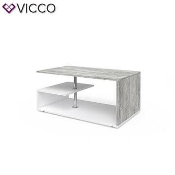 Vicco Couchtisch Guillermo 90 x 50 cm - Wohnzimmertisch Beistelltisch Holztisch Kaffeetisch - 4 Farben zur Auswahl (weiß Beton) - 5