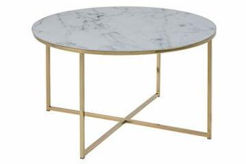 AC Design Furniture Couchtisch Antje, B: 80 x T:80 x H: 45 cm, Glas, Weiss Gestell Gold - 2