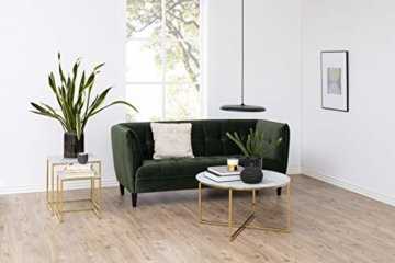 AC Design Furniture Couchtisch Antje, B: 80 x T:80 x H: 45 cm, Glas, Weiss Gestell Gold - 3