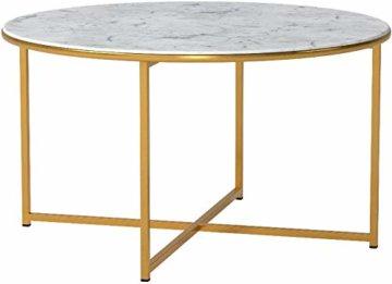 AC Design Furniture Couchtisch Antje, B: 80 x T:80 x H: 45 cm, Glas, Weiss Gestell Gold - 4