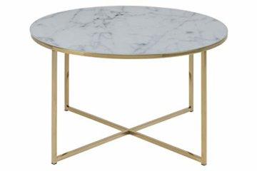 AC Design Furniture Couchtisch Antje, B: 80 x T:80 x H: 45 cm, Glas, Weiss Gestell Gold - 1