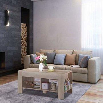 COSTWAY Couchtisch mit Stauraum, Sofatisch 2 Etagen, Beistelltisch Kaffeetisch Holztisch Wohnzimmer Balkon Flur braun - 4