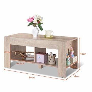 COSTWAY Couchtisch mit Stauraum, Sofatisch 2 Etagen, Beistelltisch Kaffeetisch Holztisch Wohnzimmer Balkon Flur braun - 5
