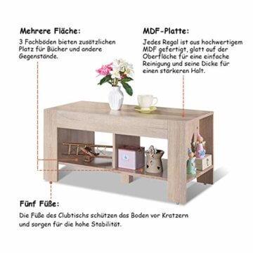 COSTWAY Couchtisch mit Stauraum, Sofatisch 2 Etagen, Beistelltisch Kaffeetisch Holztisch Wohnzimmer Balkon Flur braun - 6