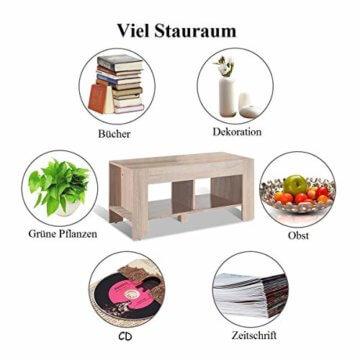 COSTWAY Couchtisch mit Stauraum, Sofatisch 2 Etagen, Beistelltisch Kaffeetisch Holztisch Wohnzimmer Balkon Flur braun - 8