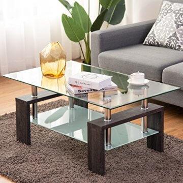 COSTWAY Couchtisch Wohnzimmertisch Sofatisch Beistelltisch Kaffeetisch Glastisch, mit Stauraum, 2 Etagen, Tischplatte aus Sicherheitsglas, für Wohnzimmer/Balkon/Flur, schwarz - 2