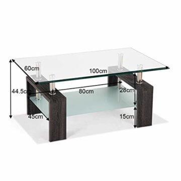 COSTWAY Couchtisch Wohnzimmertisch Sofatisch Beistelltisch Kaffeetisch Glastisch, mit Stauraum, 2 Etagen, Tischplatte aus Sicherheitsglas, für Wohnzimmer/Balkon/Flur, schwarz - 3