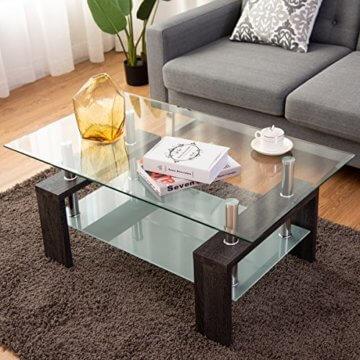 COSTWAY Couchtisch Wohnzimmertisch Sofatisch Beistelltisch Kaffeetisch Glastisch, mit Stauraum, 2 Etagen, Tischplatte aus Sicherheitsglas, für Wohnzimmer/Balkon/Flur, schwarz - 4