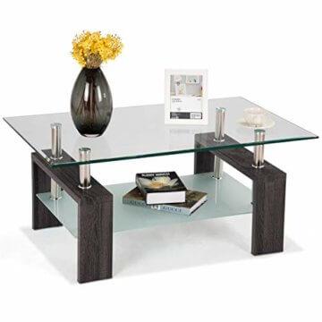 COSTWAY Couchtisch Wohnzimmertisch Sofatisch Beistelltisch Kaffeetisch Glastisch, mit Stauraum, 2 Etagen, Tischplatte aus Sicherheitsglas, für Wohnzimmer/Balkon/Flur, schwarz - 1