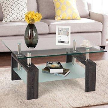 COSTWAY Couchtisch Wohnzimmertisch Sofatisch Beistelltisch Kaffeetisch Glastisch, mit Stauraum, 2 Etagen, Tischplatte aus Sicherheitsglas, für Wohnzimmer/Balkon/Flur, schwarz - 5