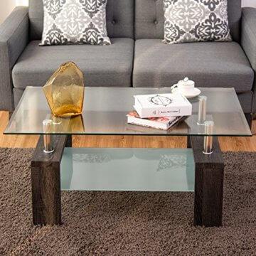 COSTWAY Couchtisch Wohnzimmertisch Sofatisch Beistelltisch Kaffeetisch Glastisch, mit Stauraum, 2 Etagen, Tischplatte aus Sicherheitsglas, für Wohnzimmer/Balkon/Flur, schwarz - 6