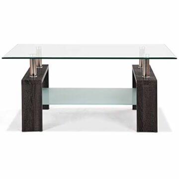 COSTWAY Couchtisch Wohnzimmertisch Sofatisch Beistelltisch Kaffeetisch Glastisch, mit Stauraum, 2 Etagen, Tischplatte aus Sicherheitsglas, für Wohnzimmer/Balkon/Flur, schwarz - 7