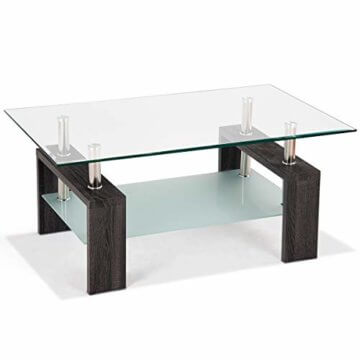 COSTWAY Couchtisch Wohnzimmertisch Sofatisch Beistelltisch Kaffeetisch Glastisch, mit Stauraum, 2 Etagen, Tischplatte aus Sicherheitsglas, für Wohnzimmer/Balkon/Flur, schwarz - 8