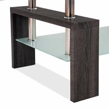 COSTWAY Couchtisch Wohnzimmertisch Sofatisch Beistelltisch Kaffeetisch Glastisch, mit Stauraum, 2 Etagen, Tischplatte aus Sicherheitsglas, für Wohnzimmer/Balkon/Flur, schwarz - 9
