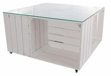 Couchtisch aus neuen weißen Apfelkisten auf Rollen inkl. klarer Glasplatte - Shabby Chic Kistentisch aus Obstkisten Weinkisten Holzkisten 81x81x44cm - 1