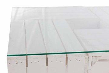 Couchtisch aus neuen weißen Apfelkisten auf Rollen inkl. klarer Glasplatte - Shabby Chic Kistentisch aus Obstkisten Weinkisten Holzkisten 81x81x44cm - 8