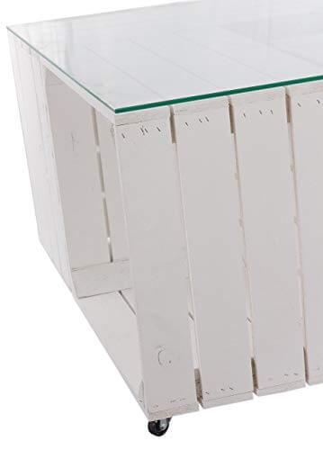 Couchtisch aus neuen weißen Apfelkisten auf Rollen inkl. klarer Glasplatte - Shabby Chic Kistentisch aus Obstkisten Weinkisten Holzkisten 81x81x44cm - 9