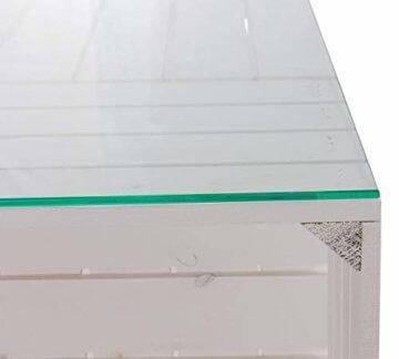 Couchtisch aus neuen weißen Apfelkisten auf Rollen inkl. klarer Glasplatte - Shabby Chic Kistentisch aus Obstkisten Weinkisten Holzkisten 81x81x44cm - 10