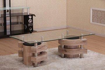 Couchtisch mit 2 Hocker 130×70 San Remo Eiche Hocker Glas Tisch Holz Garnitur Beistelltisch -