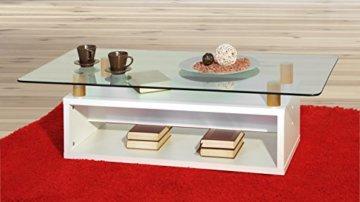 Couchtisch / Wohnzimmertisch, in Weiß (matt) mit Glasplatte Möbeldesign Team 2000 1176 - - 1