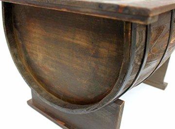 DanDiBo Couchtisch als halbiertes Weinfass Tisch aus Holz Beistelltisch 80 cm 5084 Weinregal Wein Fass Bar - 3