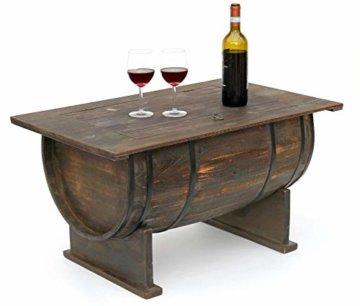 DanDiBo Couchtisch als halbiertes Weinfass Tisch aus Holz Beistelltisch 80 cm 5084 Weinregal Wein Fass Bar - 1