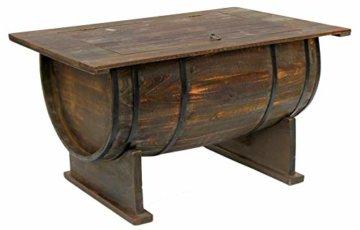 DanDiBo Couchtisch als halbiertes Weinfass Tisch aus Holz Beistelltisch 80 cm 5084 Weinregal Wein Fass Bar - 5