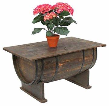 DanDiBo Couchtisch als halbiertes Weinfass Tisch aus Holz Beistelltisch 80 cm 5084 Weinregal Wein Fass Bar - 6