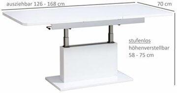 Design Couchtisch DC-1 Hochglanz stufenlos höhenverstellbar ausziehbar (Weiß Hochglanz) - 5