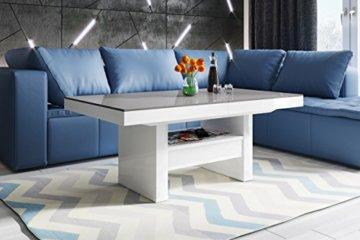 Design Couchtisch HLU-111 Grau Weiß Hochglanz Schublade höhenverstellbar ausziehbar - 2