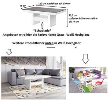 Design Couchtisch HLU-111 Grau Weiß Hochglanz Schublade höhenverstellbar ausziehbar - 3