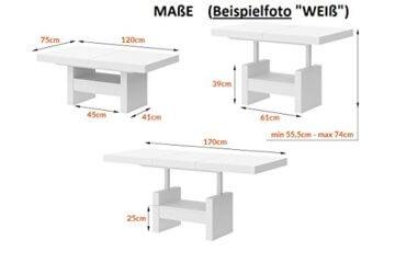 Design Couchtisch HLU-111 Grau Weiß Hochglanz Schublade höhenverstellbar ausziehbar - 4