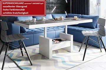 Design Couchtisch HLU-111 Grau Weiß Hochglanz Schublade höhenverstellbar ausziehbar - 1
