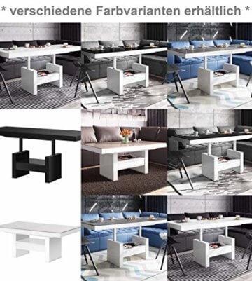 Design Couchtisch HLU-111 Grau Weiß Hochglanz Schublade höhenverstellbar ausziehbar - 6
