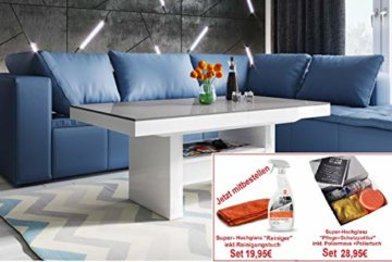 Design Couchtisch HLU-111 Grau Weiß Hochglanz Schublade höhenverstellbar ausziehbar - 7