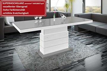 Design Couchtisch Matera Lux H-333 Grau/Weiß Hochglanz höhenverstellbar ausziehbar - 2