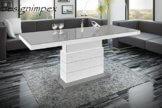 Design Couchtisch Matera Lux H-333 Grau/Weiß Hochglanz höhenverstellbar ausziehbar - 1