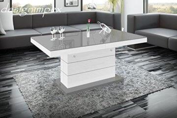 Design Couchtisch Matera Lux H-333 Grau/Weiß Hochglanz höhenverstellbar ausziehbar - 3