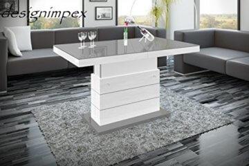 Design Couchtisch Matera Lux H-333 Grau/Weiß Hochglanz höhenverstellbar ausziehbar - 4