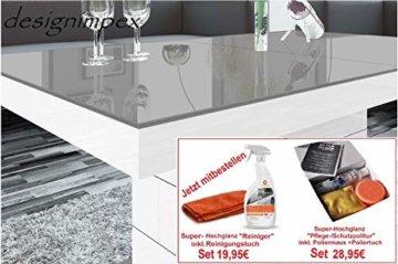 Design Couchtisch Matera Lux H-333 Grau/Weiß Hochglanz höhenverstellbar ausziehbar - 5