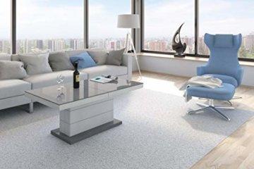 Design Couchtisch Matera Lux H-333 Grau/Weiß Hochglanz höhenverstellbar ausziehbar - 6
