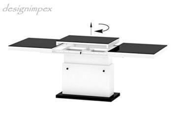 Design Couchtisch Matera Lux H-333 Grau/Weiß Hochglanz höhenverstellbar ausziehbar - 7