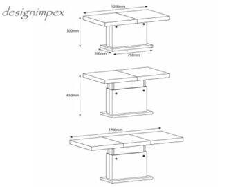 Design Couchtisch Matera Lux H-333 Grau/Weiß Hochglanz höhenverstellbar ausziehbar - 9