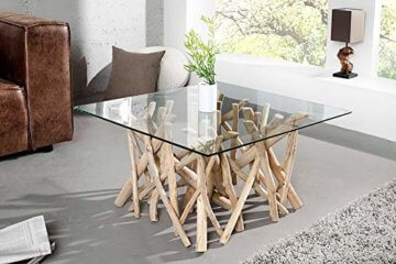 Design Teakholz Couchtisch DRIFTWOOD mit Glasplatte eckig Tisch Treibholz Holztisch - 2