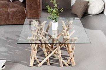 Design Teakholz Couchtisch DRIFTWOOD mit Glasplatte eckig Tisch Treibholz Holztisch - 3