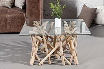 Design Teakholz Couchtisch DRIFTWOOD mit Glasplatte eckig Tisch Treibholz Holztisch - 4