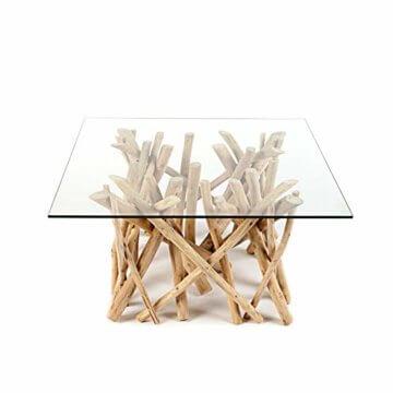 Design Teakholz Couchtisch DRIFTWOOD mit Glasplatte eckig Tisch Treibholz Holztisch - 1