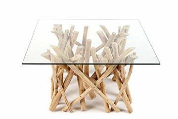 Design Teakholz Couchtisch DRIFTWOOD mit Glasplatte eckig Tisch Treibholz Holztisch - 6
