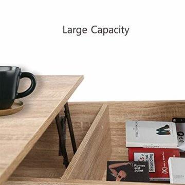 ease Couchtisch mit Höhenverstellbar Wohnzimmertisch Funktionaler Design Couchtisch mit Stauraum und Ablage für Büro, Küche, Wohnzimmer - 3